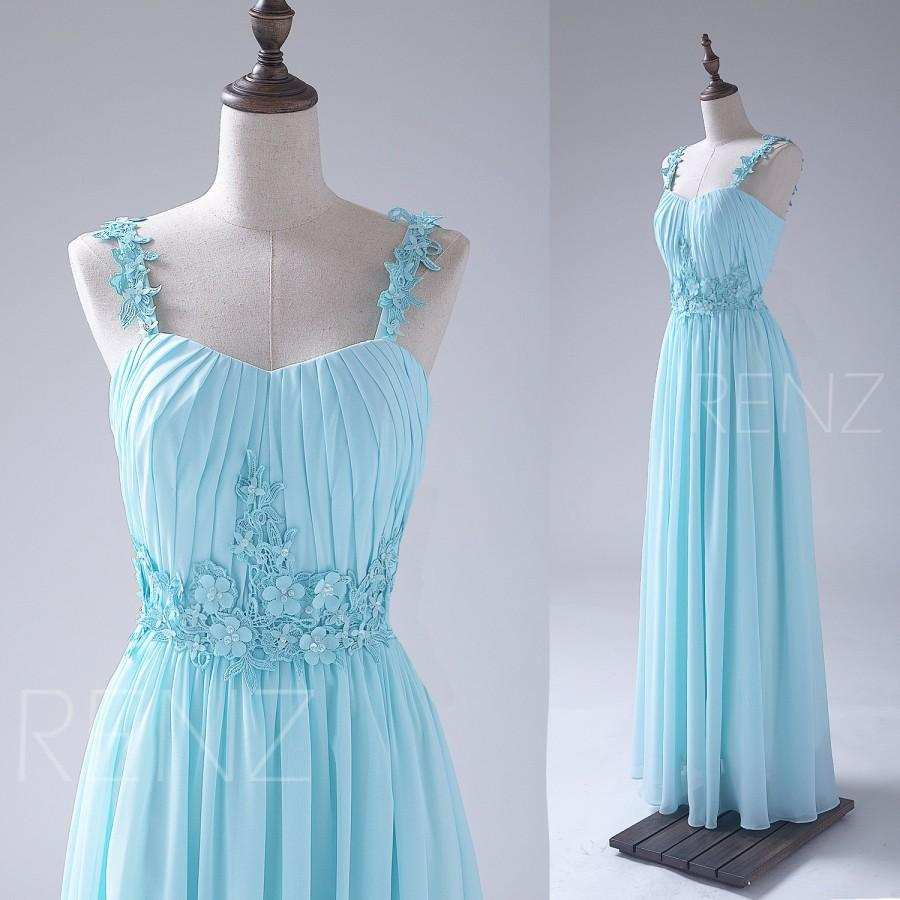 Hochzeit - 2015 Light Blue Bridesmaid dress, Flower Spaghetti Straps Wedding dress, Long Lace Evening dress, Chiffon Formal dress floor length (S042)