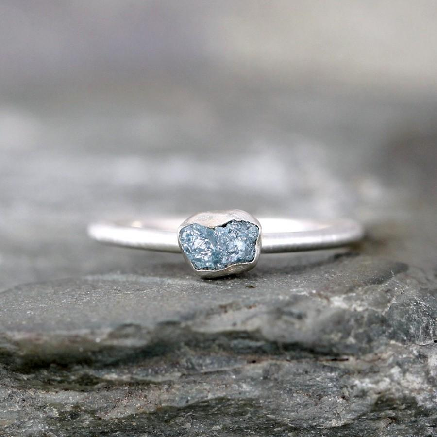 2 Carat  Conflict Free  Sterling  Silver Stacking Ring  Raw Gemstone  April Birthstone Promise Ring