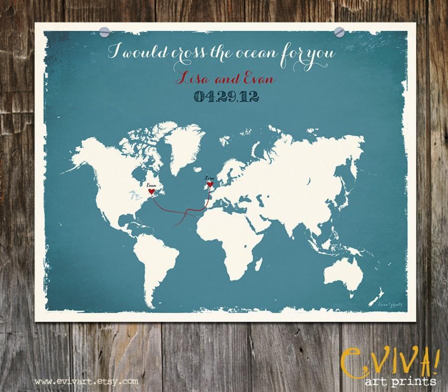 world map custom wedding print destination wedding gift memento