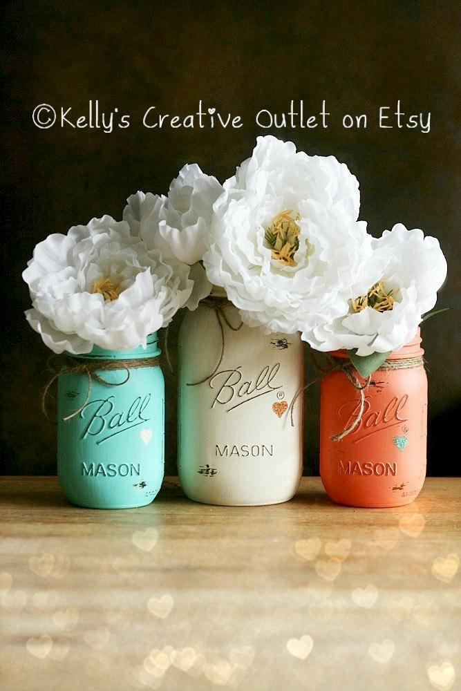 Cream Coral And Teal Painted Mason Jar Distressed Mason Jars