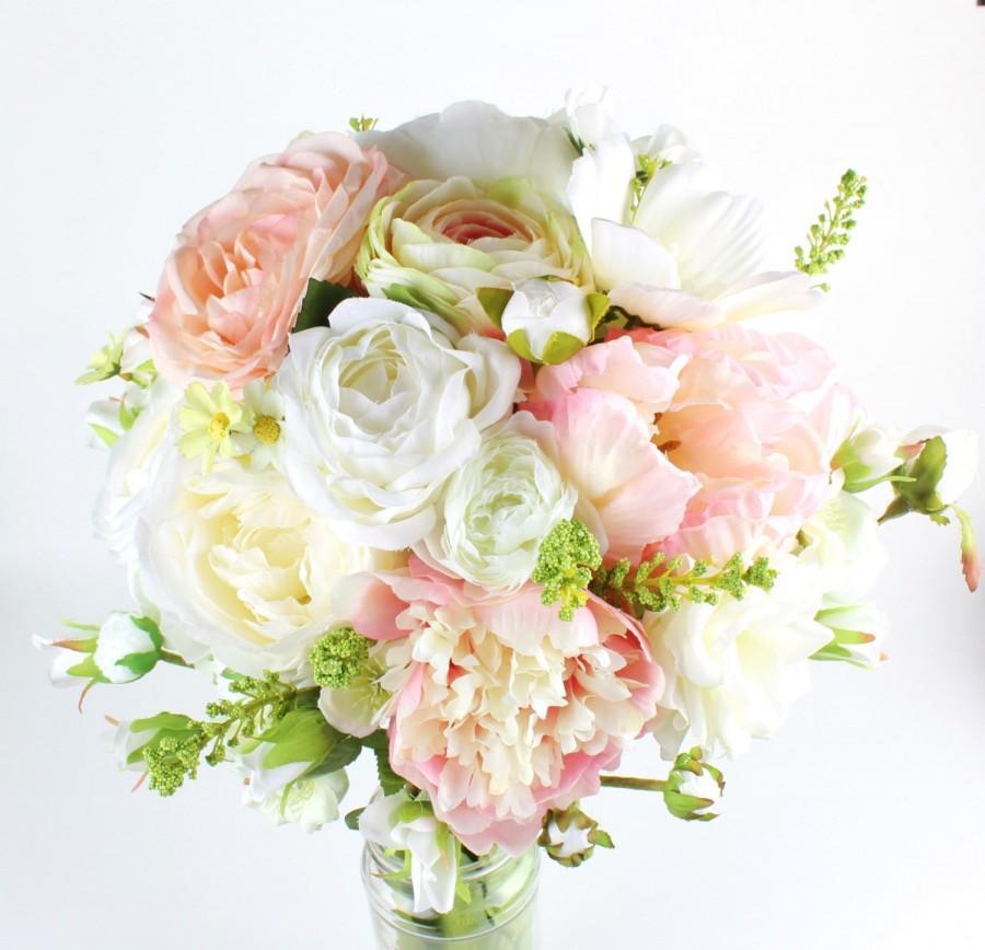 artificial silk flower wedding bridal bridesmaid bouquet blush pink ranunculus pink peonies keepsake rustic bouquet - Blush Garden Rose Bouquet