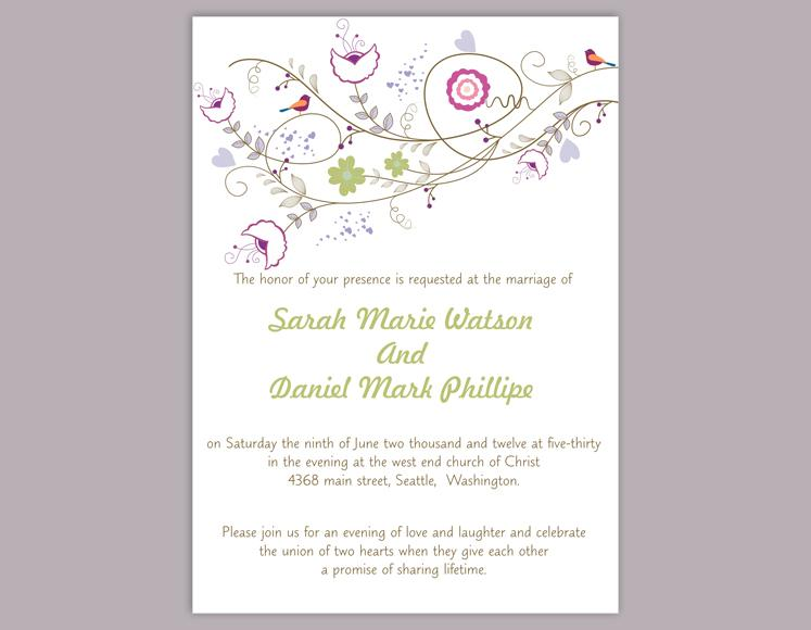 Mariage - DIY Wedding Invitation Template Editable Word File Instant Download Printable Colorful Invitation Flower Wedding Invitation Bird Invitation
