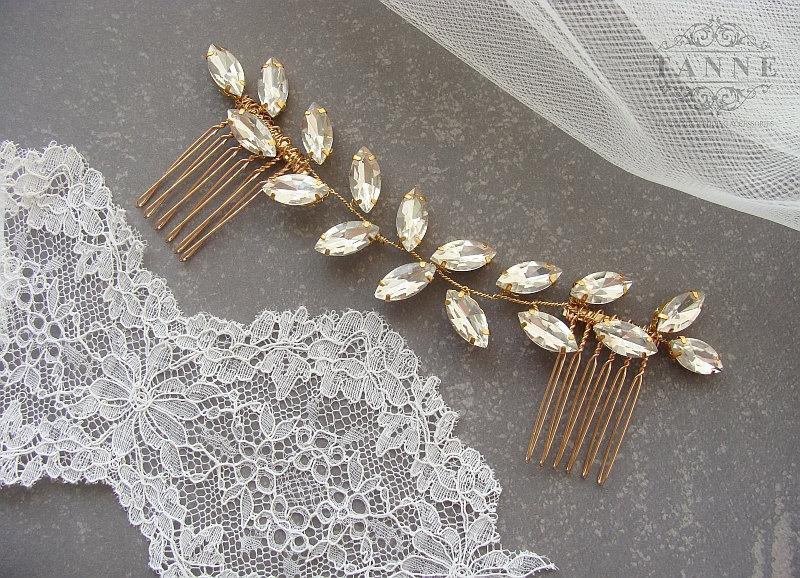Свадьба - Bridal Hair Vine, Crystal Hair Vine, Gold Leaf Hair Vine, Bridal Headpiece, Crystal Leaf Headpiece, Wedding Hair Accessory, Gold Leaf Crown