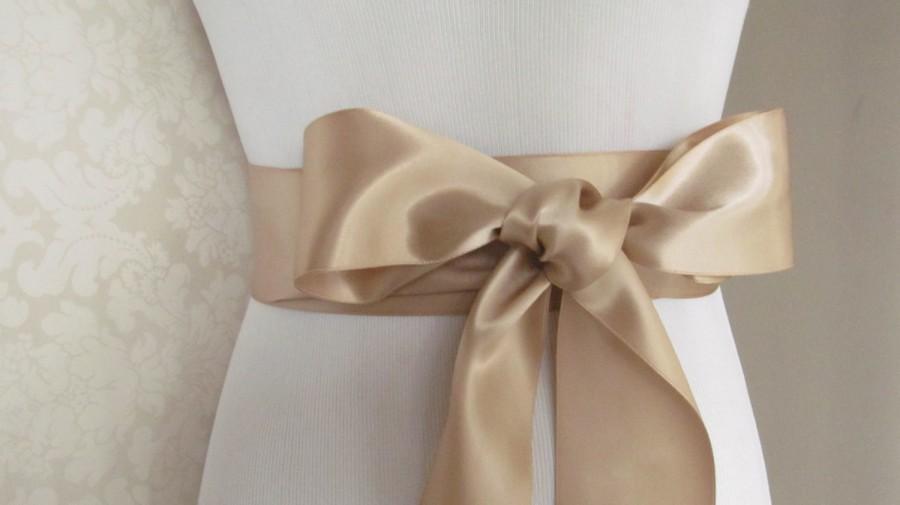 Hochzeit - Champagne Bridal Sash / Double Face Sash  Ribbon /  Ribbon Sash /  12ft sash / 9ft sash / 6ft sash