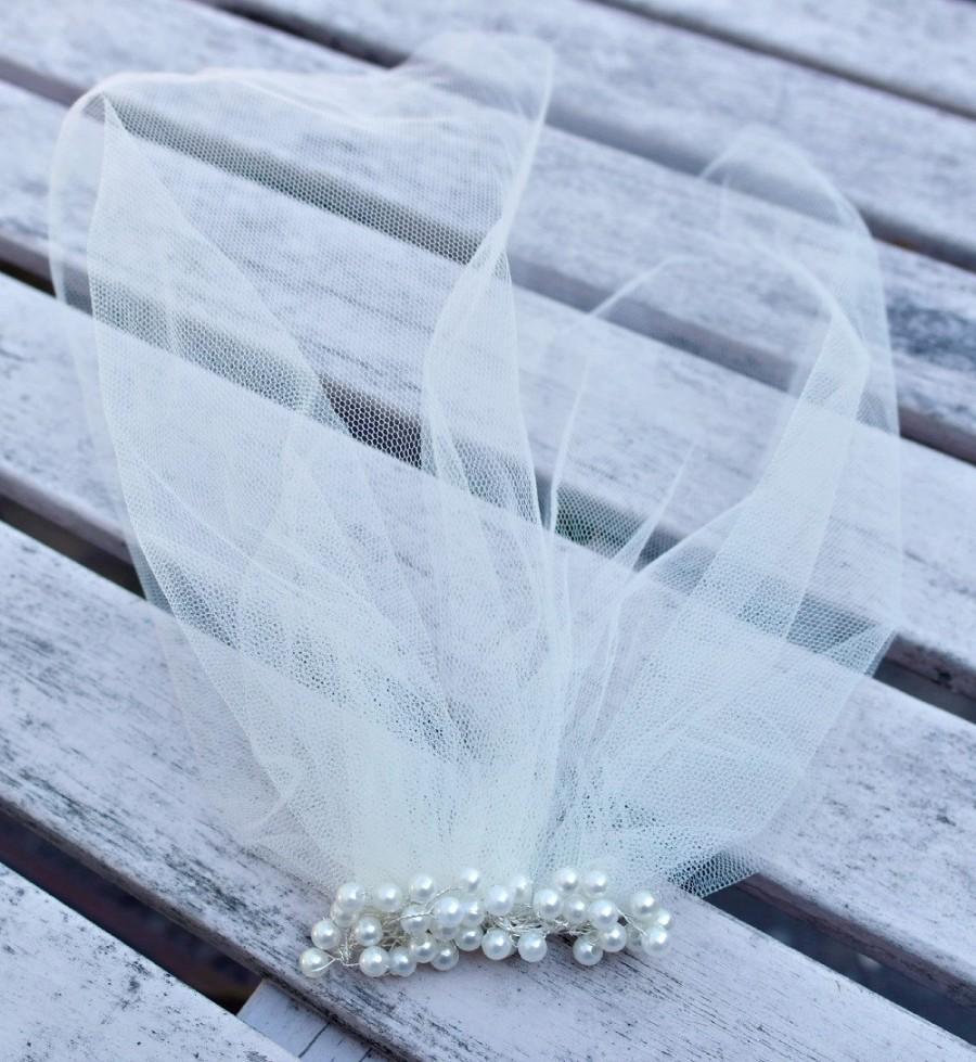 زفاف - Blusher veil, Tulle Birdcage Veil, Vintage Style Petite Veil Mini Blusher Illusion Tulle Veil Ivory or White