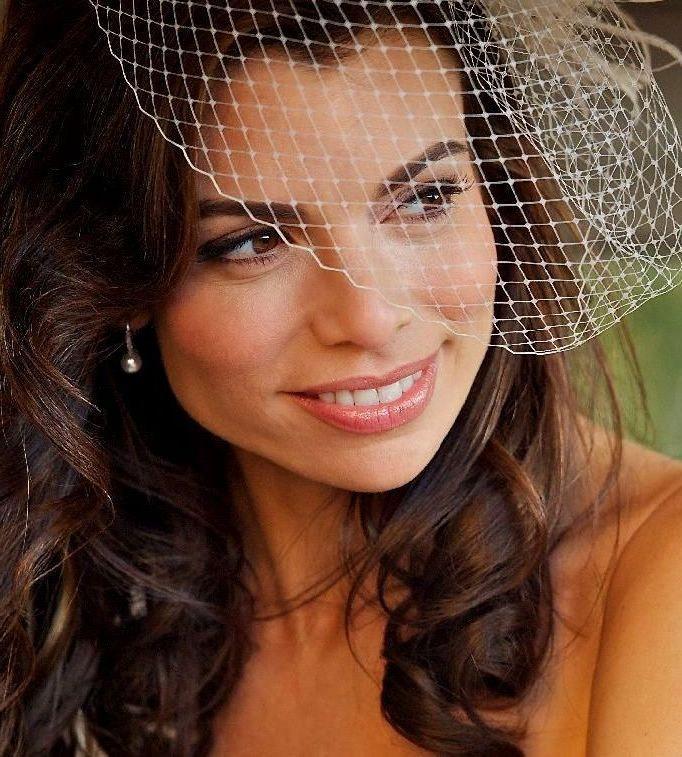 زفاف - Blusher Birdcage Veil, Ivory Veil, White Netting, Flapper Hat Veil, Vintage Style Wedding, VIVA
