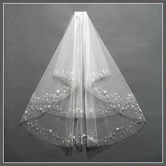 زفاف - Bridal Veil Comb, Elbow Length Bridal Veil, Two Tier Bridal Veil, Bridal Veil Fingertip, Ivory Wedding Veil, Wedding Veil with Crystals/V001