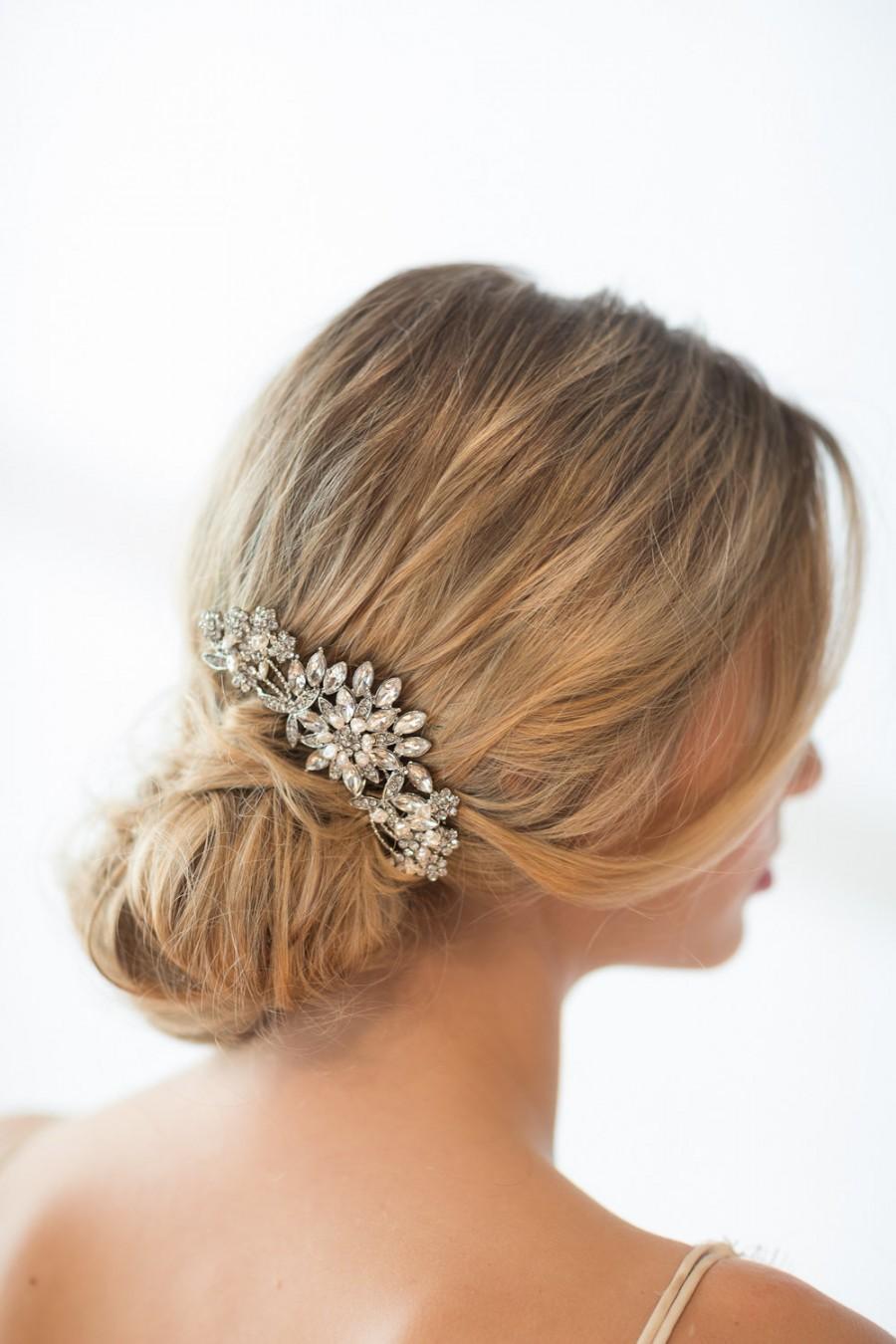 زفاف - Bridal Hair Comb, Crystal and Pearl Comb, Wedding Hair Comb
