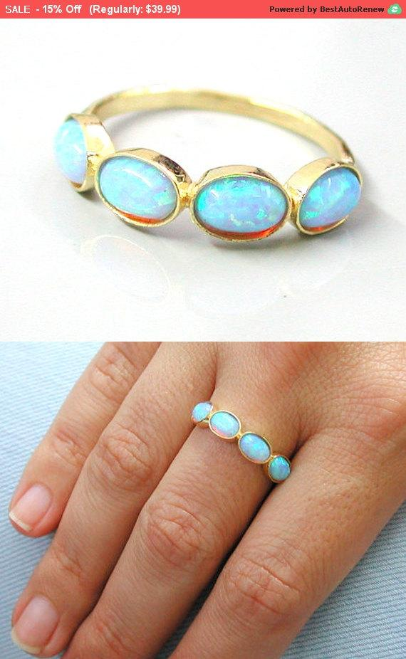 Wedding - Valentine's Day SALE Blue Opal Ring - 14k Yellow Gold plated Over Brass Gemstone ring - engagement ring