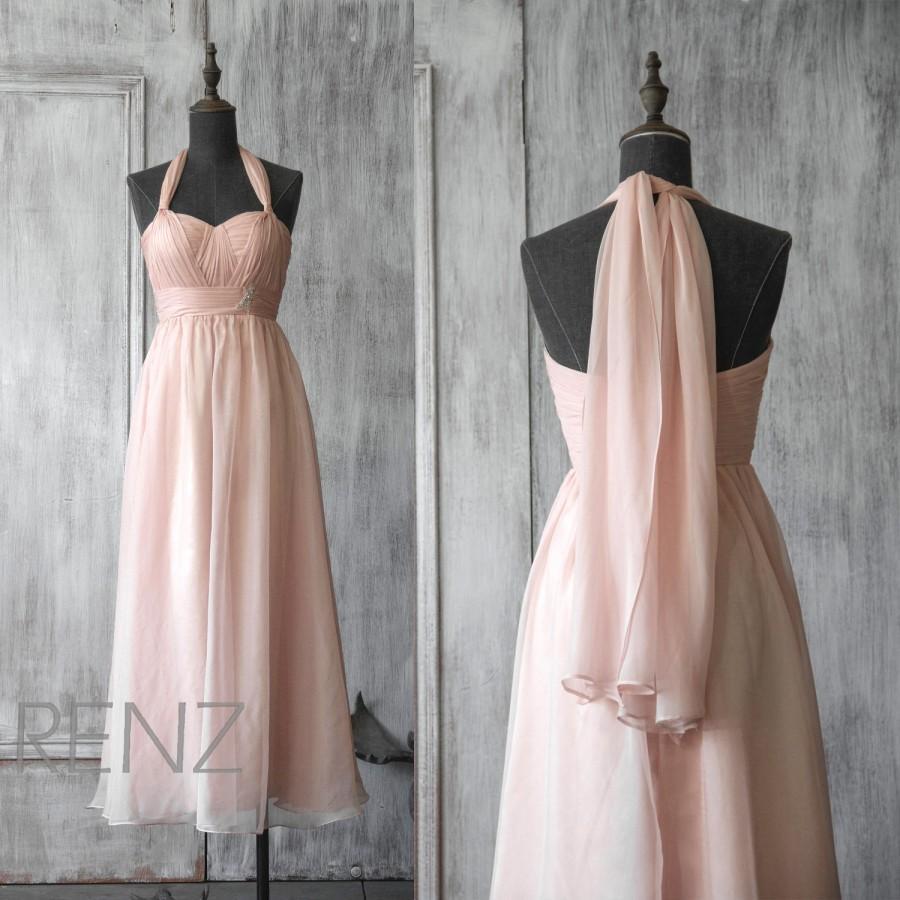 Mariage - 2015 Pink Chiffon Bridesmaid dress, Sweetheart Blush Wedding dress, Empire Waist Halter dress, Maternity Formal dress floor length (F031)