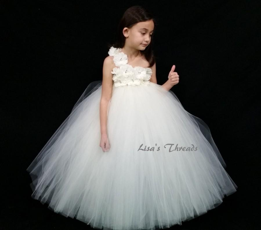 Mariage - white Flower girl dress/ Junior bridesmaids dress(WHITE/ IVORY/ PINK/ Aqua many colors available)