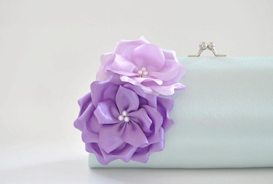 زفاف - Hint of Mint and Shades of Lavender - Bridesmaid Clutch / Bridal clutch