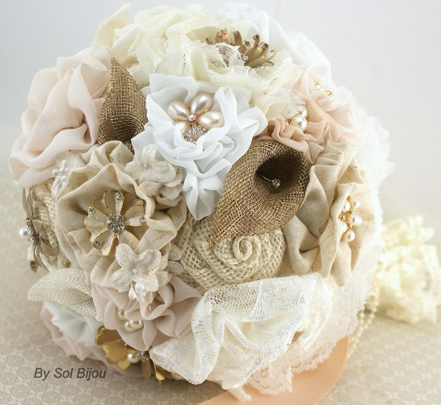 Brooch Bouquet Ivory White Gold Blush Wedding Bridal Jeweled Shabby Chic Vintage Burlap Lace Linen Pearls Crystals