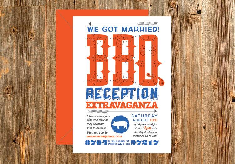 Casual Customizable Bbq Wedding Reception Invitation This 5x7 Is