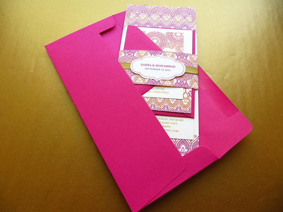 Hochzeit - Indian Wedding Invitation, Henna Inspired Wedding Invitation, Pink and Gold Invitation – SAMPLE