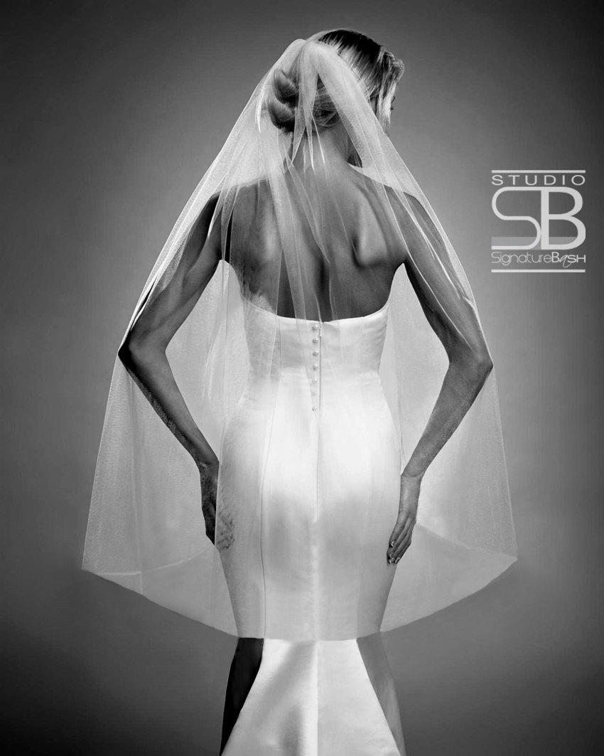 Mariage - Single Tier Fingertip Length - Ivory, Diamond White or White Wedding Veil