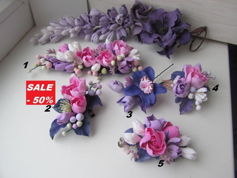 زفاف - Hair clip, rose barrette, wedding violet, barrette with flower, flower hairpin, flower girl rose, bridesmaid violet, sale bridal