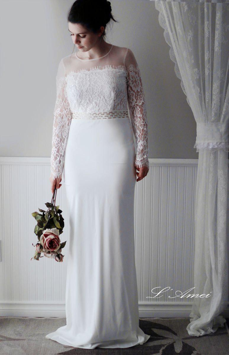 Свадьба - Affordable Sexy Fitted Long-sleeved Lace Bridal Wedding Dress with High Slit and See through Shoulder