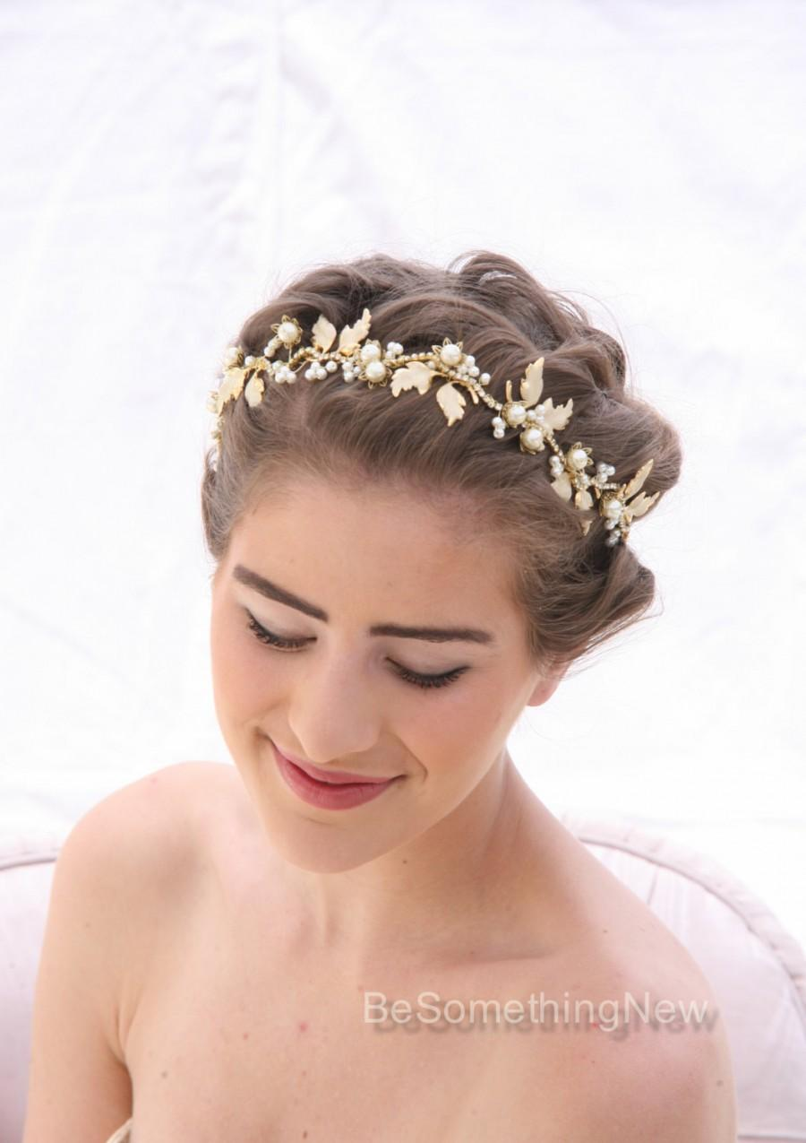 Wedding Hair Vine In Gold And Ivory Beaded Wedding Tiara With Meal