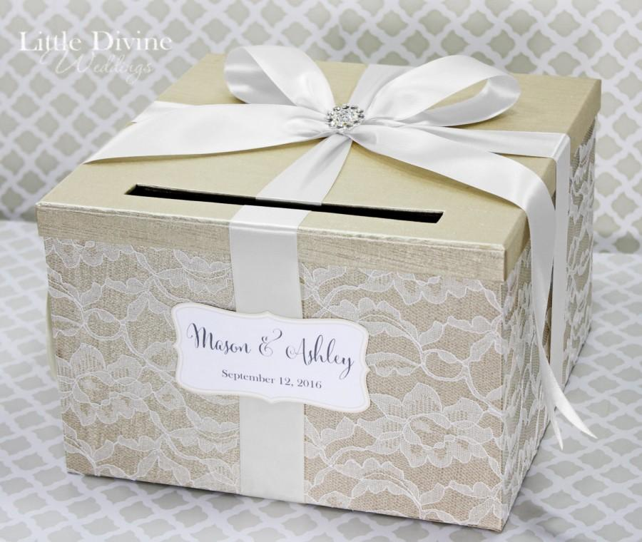 Wedding Card Box Champagne White Lace Holder Custom Made