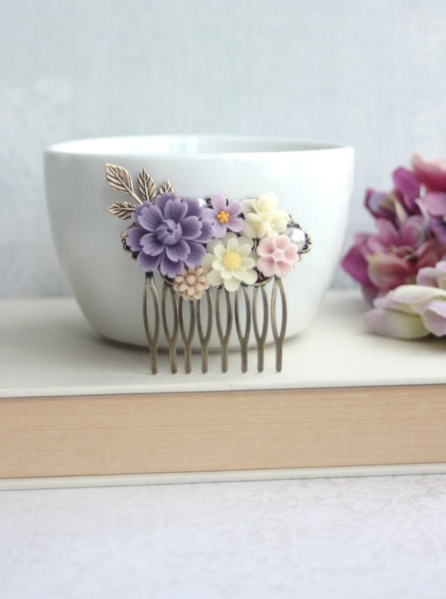 زفاف - Shades of Purple, Ivory, Pink, Brown Flower Collage Filigree Hair Comb. Vintage Style Comb. Bridesmaids Hair Accessories. Wedding Hair Comb.