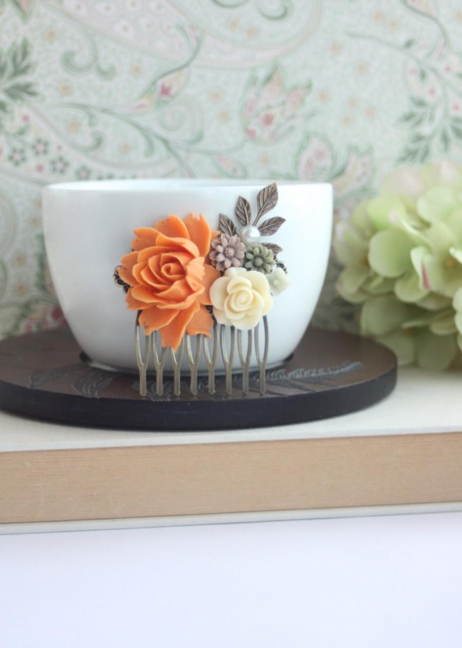 زفاف - Orange Fall Vintage Inspired Ivory Rose, Brown, Olive Green Daisy Mum Flower Hair Comb. Bridesmaids Gifts. Wedding Bridal Autumn Rustic Clip