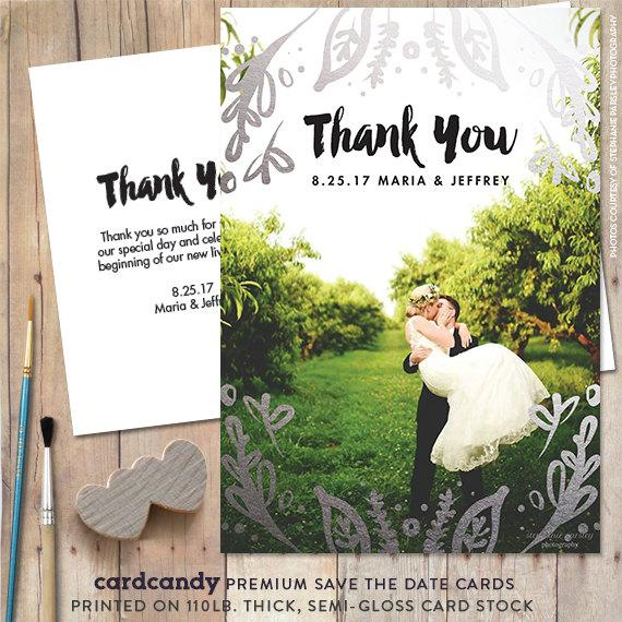 Wedding Thank You Cards Or Magnets Gold Silver Card Leaf