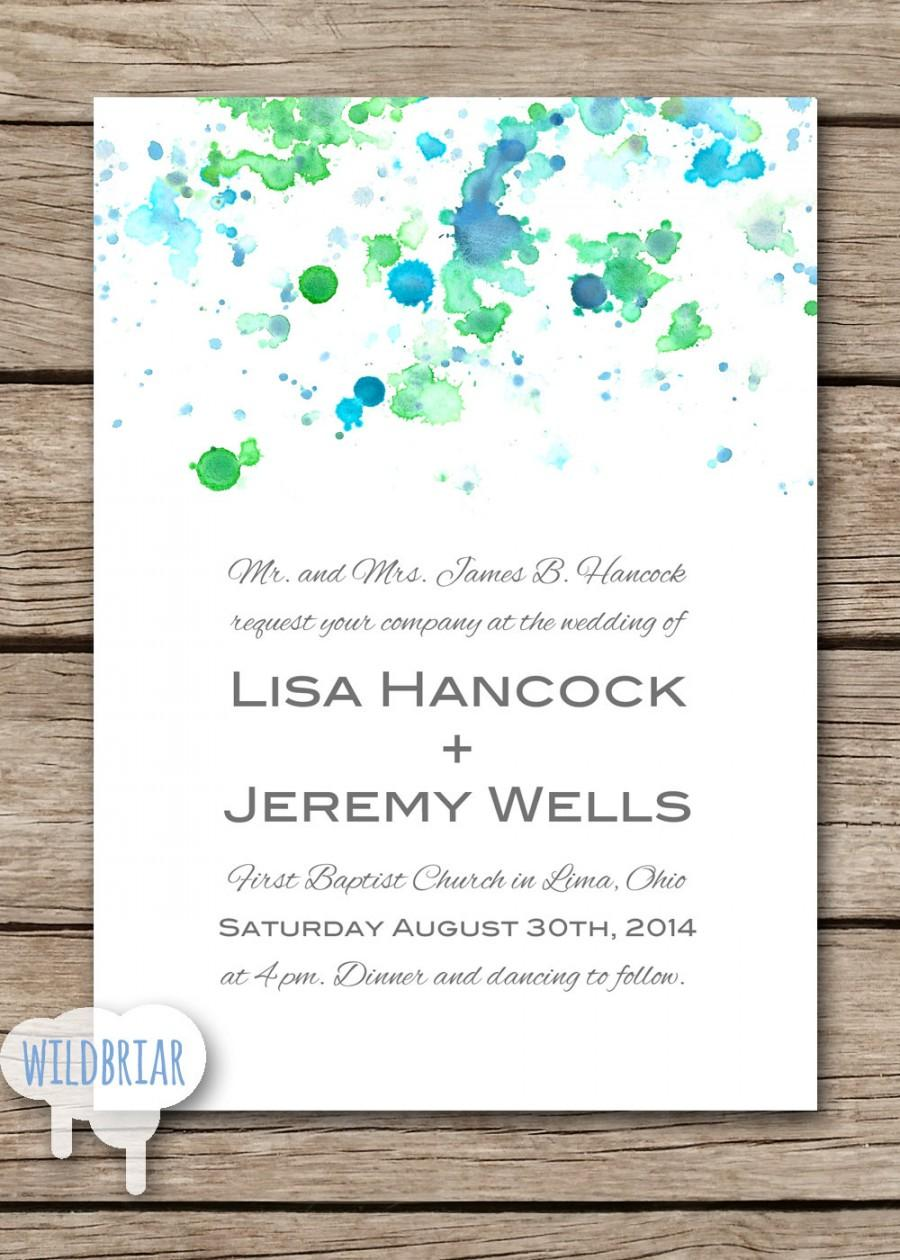 Watercolor Printable Wedding Invitation, Paint Splatter, Blue Green ...
