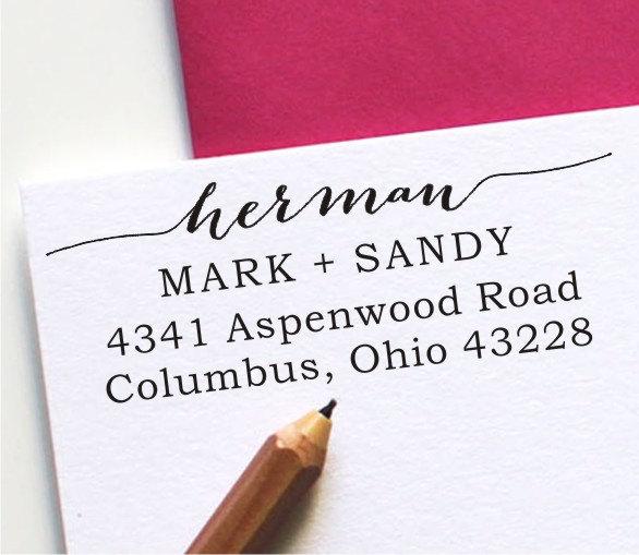 Hochzeit - Self Inking Address Stamp - Custom Address Stamp - Calligraphy Handwriting Script (137)