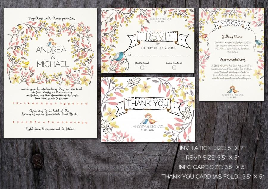 whimsical wedding invitation, printable wedding invitation, Wedding invitations