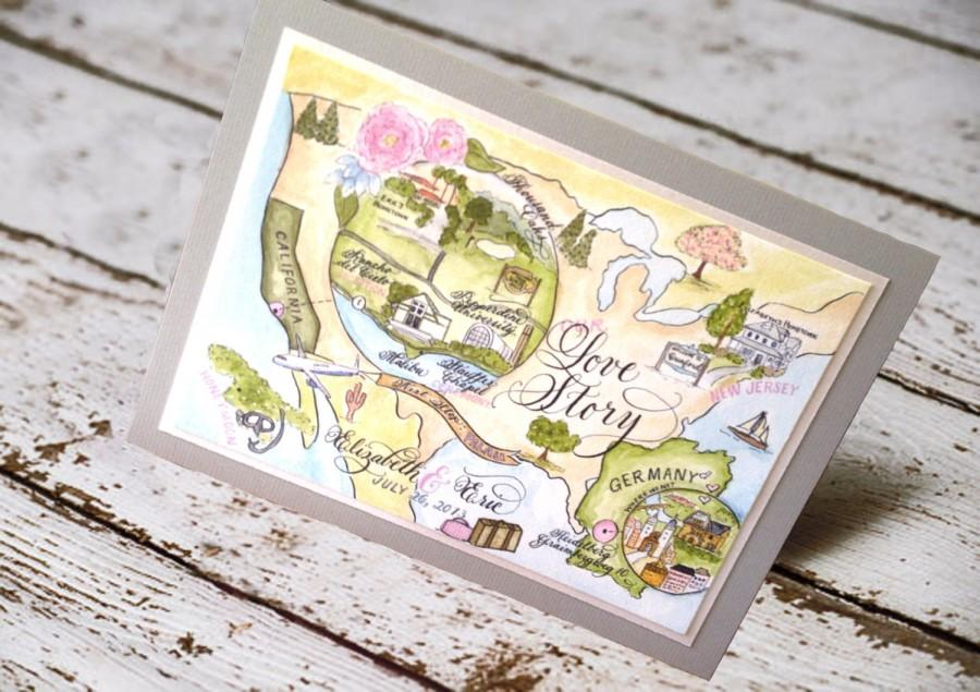 Map Wedding Invitation Love No 7 Combe Magna With Calligraphy