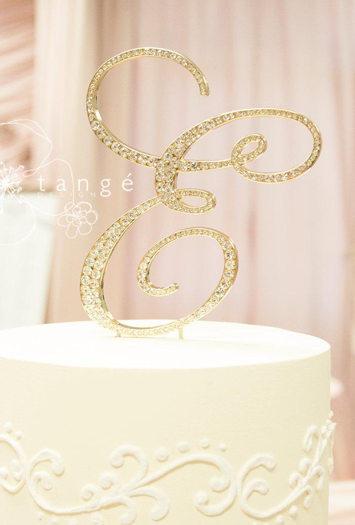 Wedding - Priority Mail-Metal Rhinestone GOLD E Cake Toppers available in Letter A B C D E F G H J K L M N P R S T V W Z cake topper
