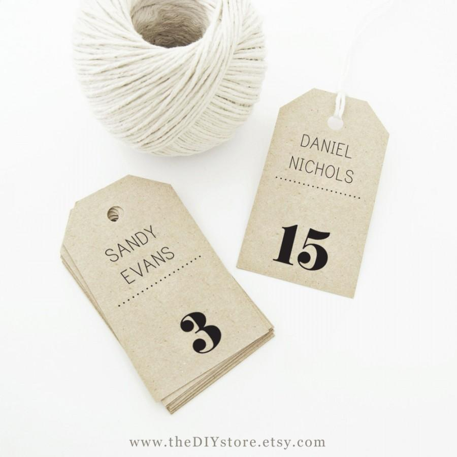 image about Printable Hang Tags named Escort Card Tag Printable, Words Editable, MEDIUM Tag Sizing