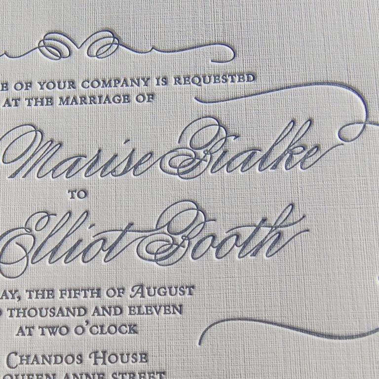 Letterpress Wedding Invitation Sample, Wedding Invitation, Classic ...