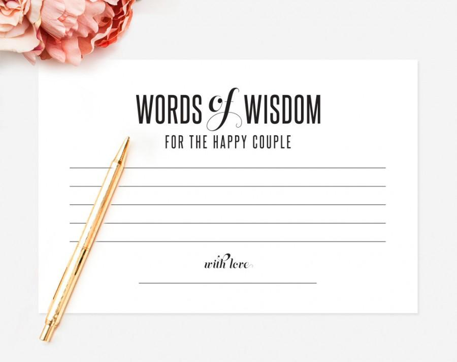 words of wisdom wedding advice printable template kraft sign card marriage advice keepsake