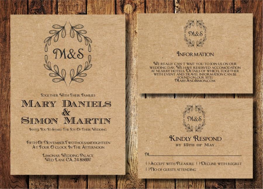 Rustic Wedding Invitation Template Set Kraft Paper Wreath Casual