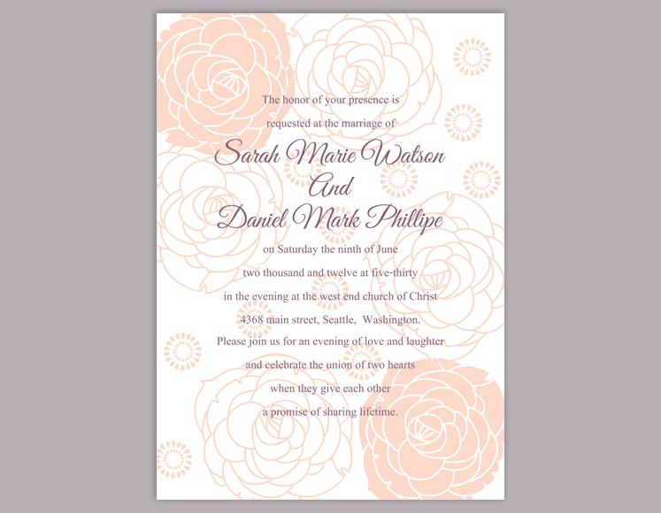Mariage - DIY Wedding Invitation Template Editable Word File Instant Download Printable Floral Invitation Rose Wedding Invitation Peach Invitations