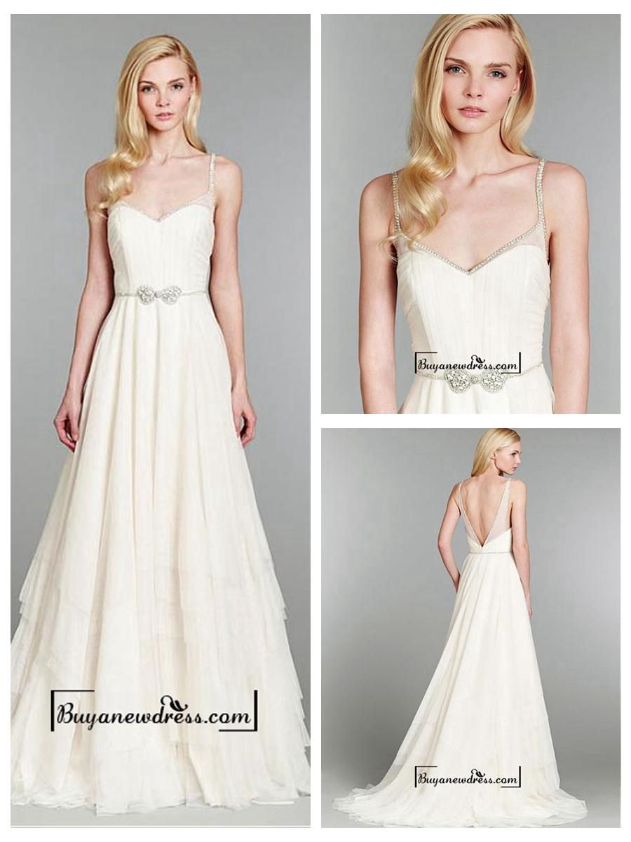 Wedding - Attractive Tulle & Satin A-line Spaghetti Straps Natural Waistline Wedding Dress