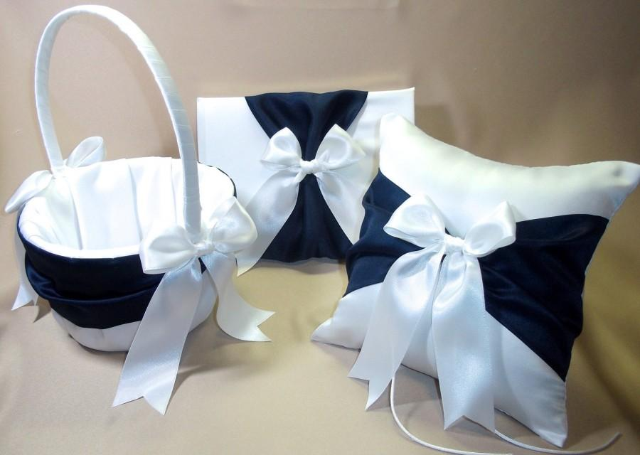 3 Piece White Or Ivory Wedding Ring Bearer Pillow Flower Girl Basket Guest Book Marine Navy Blue Accent