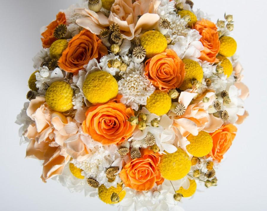 Wedding bouquet preserved bridal bouquet yellow peach orange wedding bouquet preserved bridal bouquet yellow peach orange white preserved bridal bouquet keepsake bouquet mightylinksfo