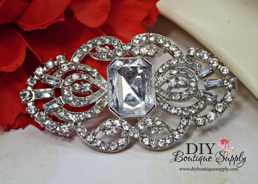 9d6e1f61a44 Large Art Deco Rhinestone Brooch Component - Flatback Crystal Embellishment  for Wedding Bouquets Sash Bridal Accessories 65mm 048083