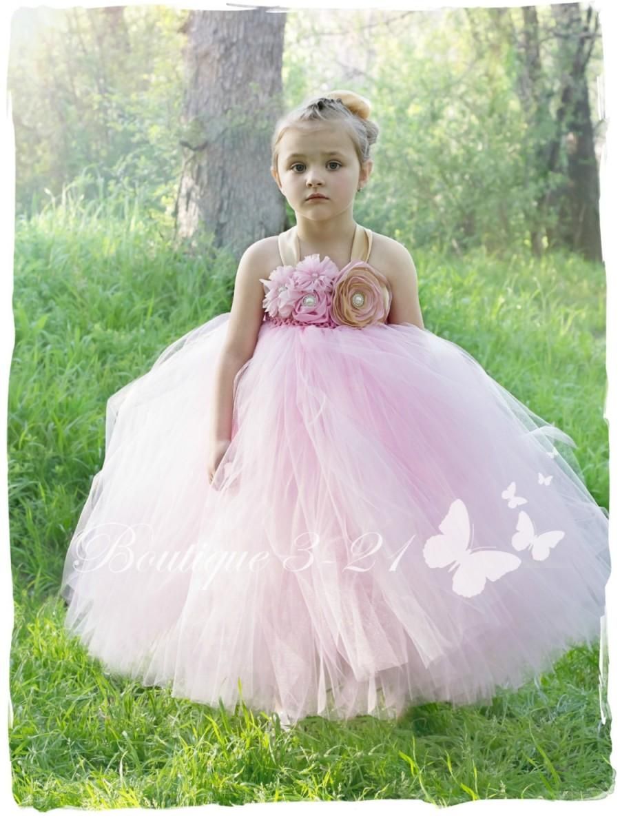 Pink Flower Girl Dress Pink And Gold Tutu Dress Pink Tutu Dress