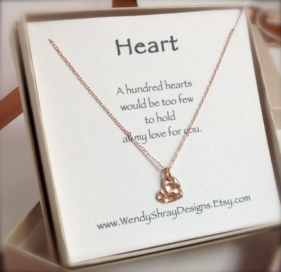Wedding - Heart necklace, rose gold necklace, rose gold jewelry, rose gold hammered heart, bridesmaid gift , maid of honor gift, yoga jewelry