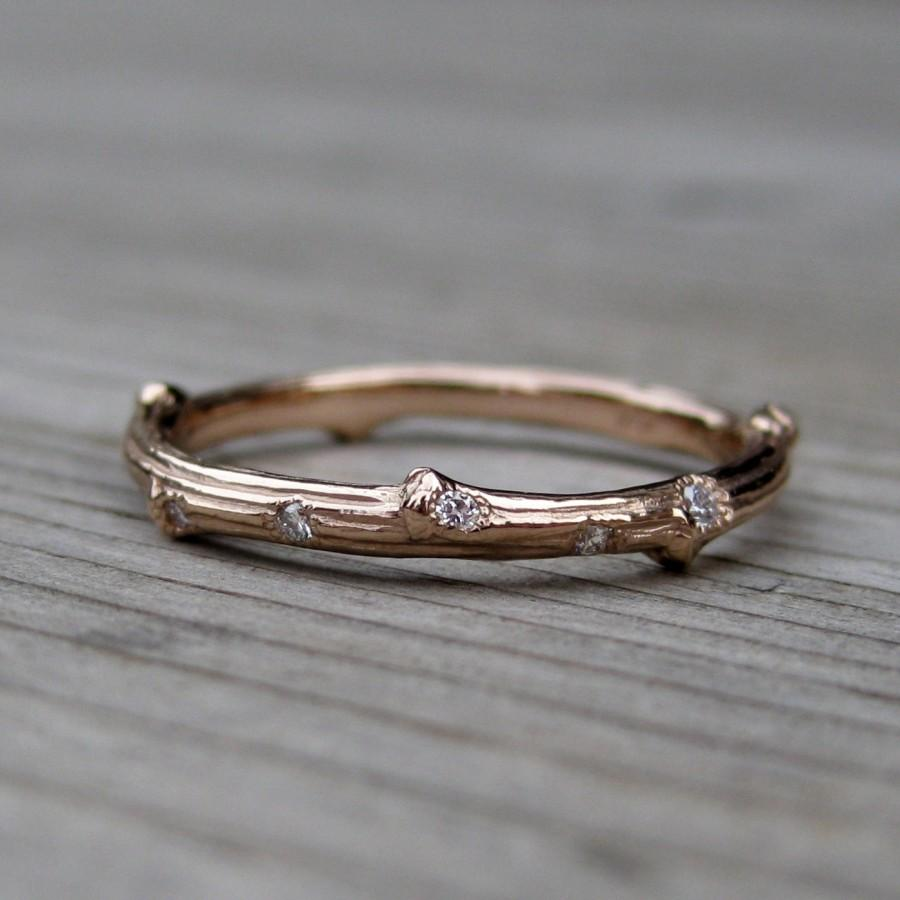 Wedding - Rose Gold Scattered Diamond Branch Wedding Band: Yellow, Rose, or White Gold, 2mm wide, Canadian Diamonds