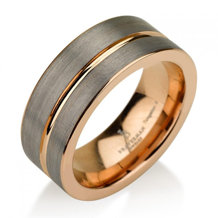 Black Gunmetal Tungsten Ring Rose Gold Wedding Band Ring Tungsten 9mm Tungsten Ring Man Wedding