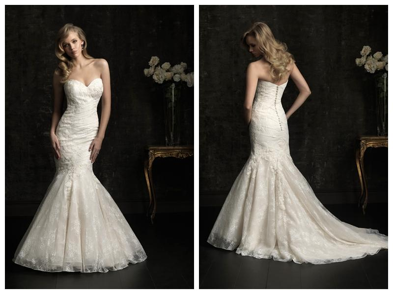 Свадьба - Embroidered Lace Applique Sweetheart Mermaid Allure Designer Wedding Dress Style 8967