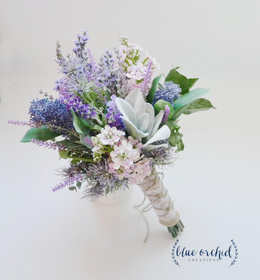 Lavender And Lilac Wildflower Bouquet With Lamb S Ear Rustic