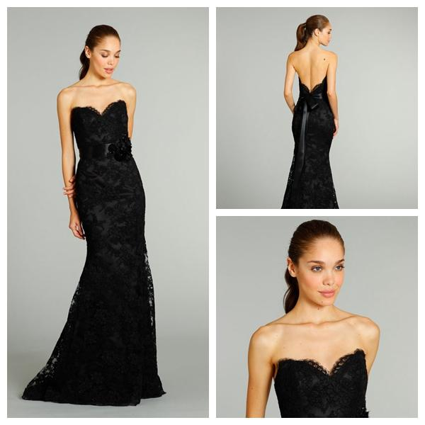 Свадьба - Fall Black Lace Charmeuse A-line Sweetheart Satin Wedding Dress with Ribbon Floral Waist Sweep Train