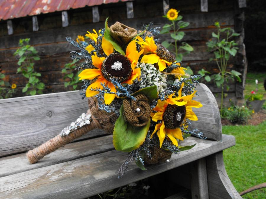 Hochzeit - Burlap and Sunflower bouquet with rhinestone and pearl accents wedding packages available