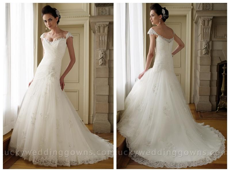 Cap Sleeves Lace Tulle A Line Wedding Dress With Asymmetrical Drop Waist